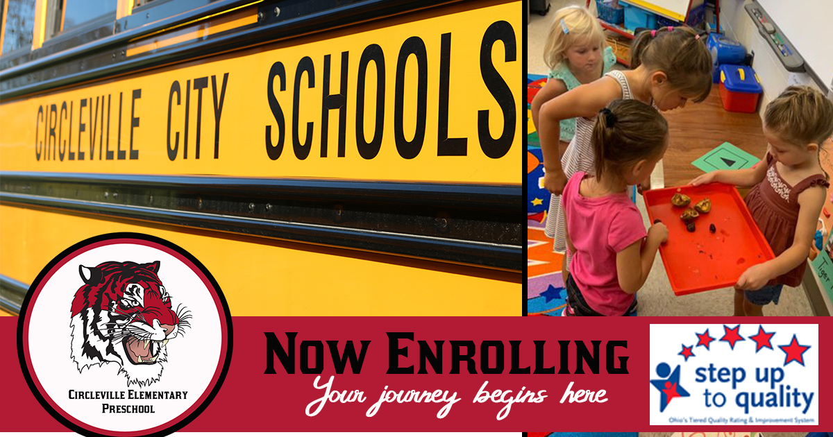 Our 5-star Step-Up-to-Quality rated Preschool Program at Circleville Elementary School is now accepting enrollments for the 2020-2021 school year.