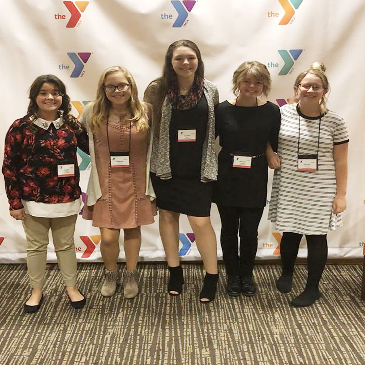 Middle school students Raegan Evans, Lillianna Stafford, Camille Hoop, Kirsten Metzger, and Mallory Holcomb took on the same responsibilities as those who currently work in state government through hands-on legislative experiences.