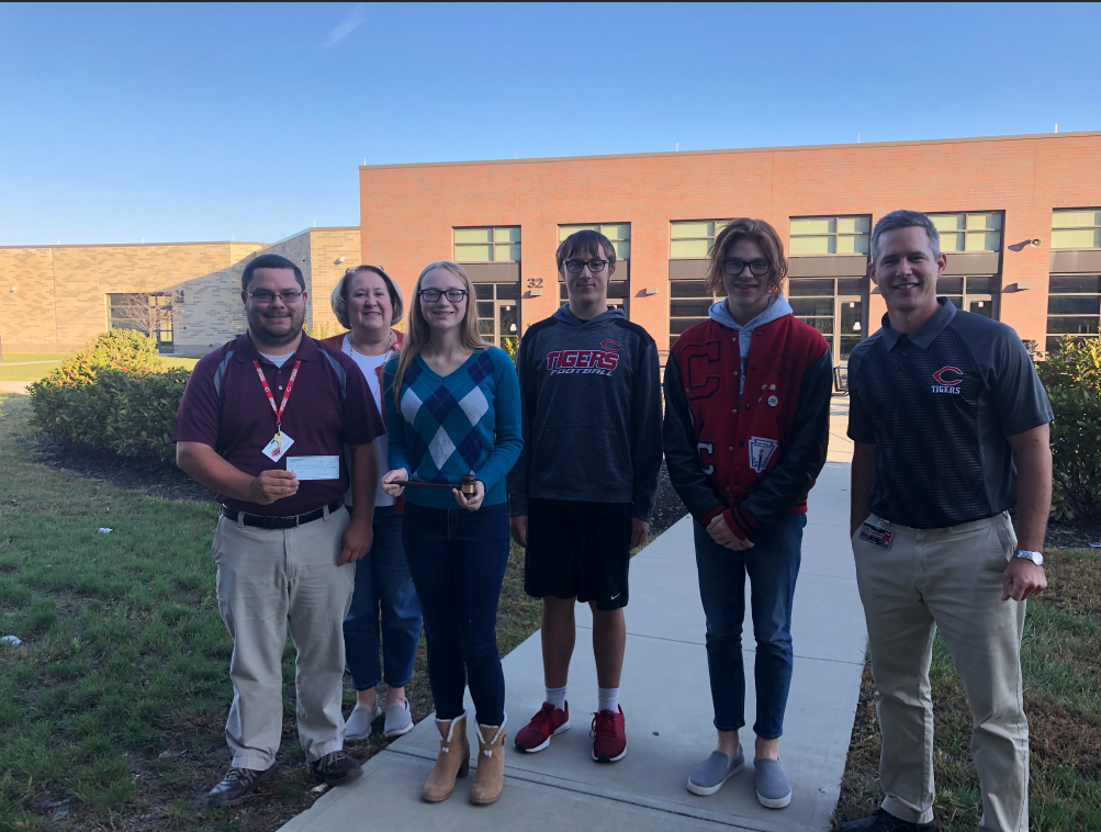 Circleville High School Alumni Association president Casey Lockard, alumni representative Terri Carter, student Hannah Kegley, student Anthony Fauver, student Caleb Morgan, & Mock Trial adviser Mr. Hamman.