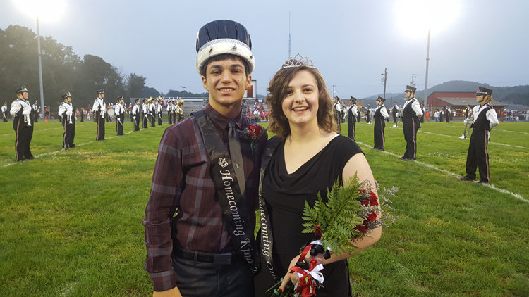 2018 Homecoming King Brock Haas and Queen Violet Hutchison