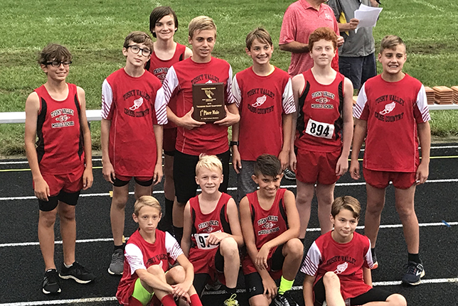 TVMS Boys' Cross COuntry Poses with Tuscarawas County Trophy