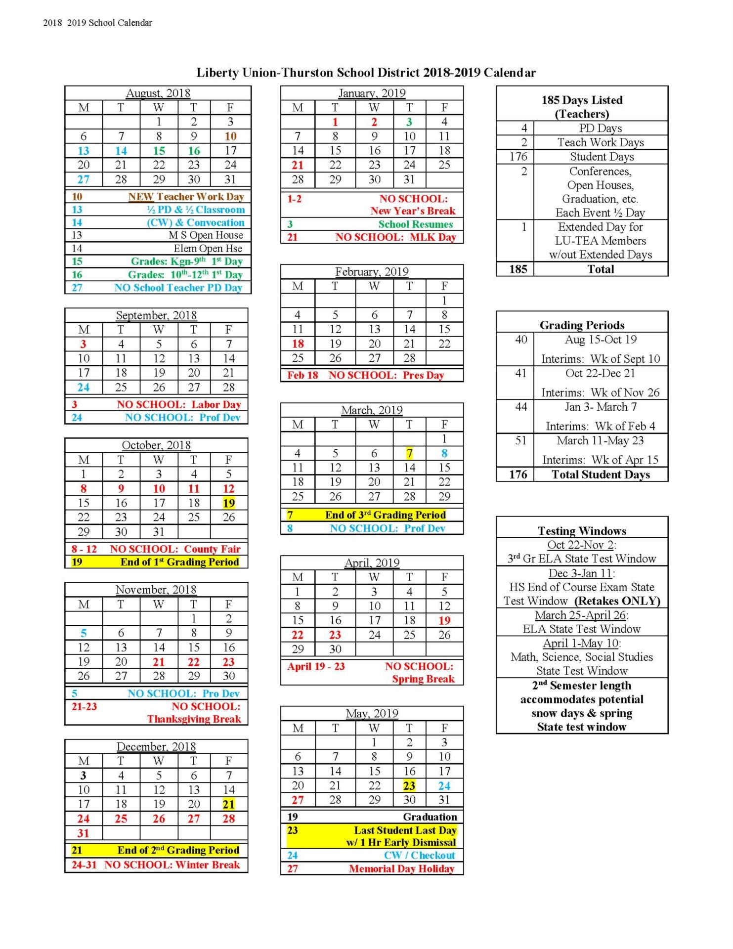 2018 2019 liberty union thurston school calendar
