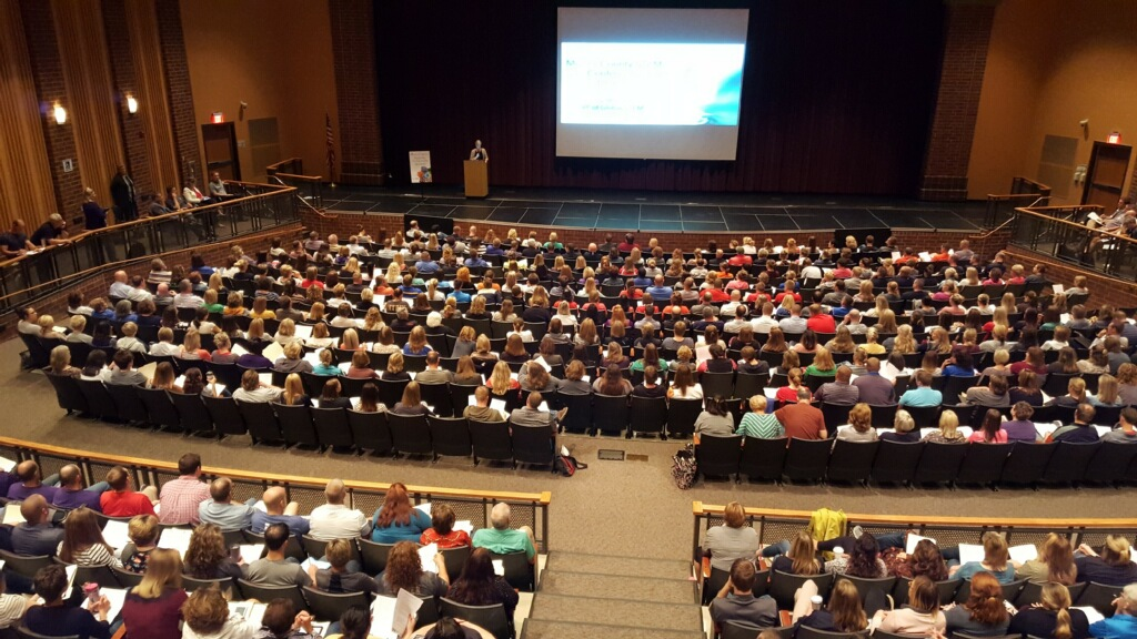 Mercer county educators gather to listen to the keynote speaker.
