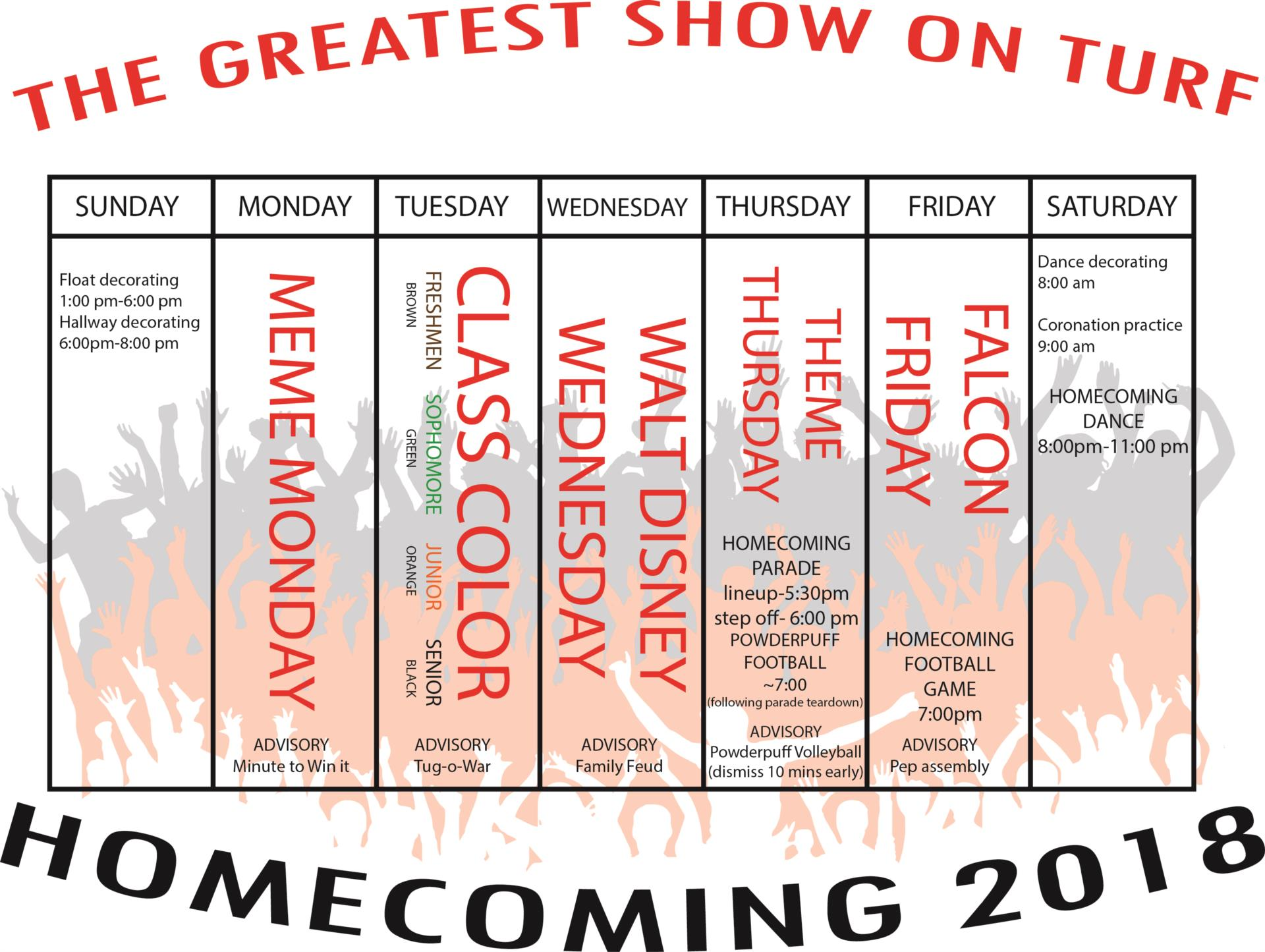 2018 Homecoming Calendar