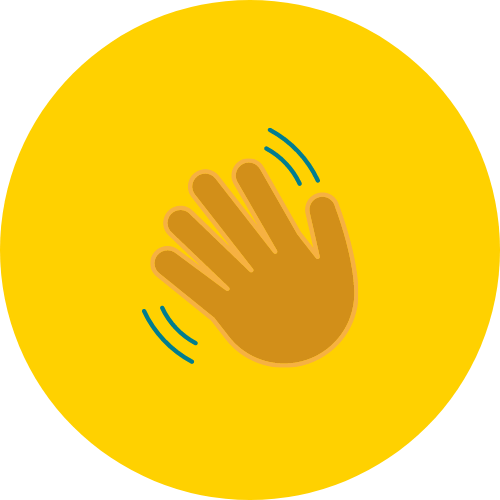 icon of a hand waving