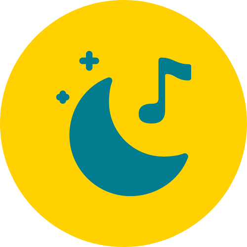 An icon of the moon and musical note