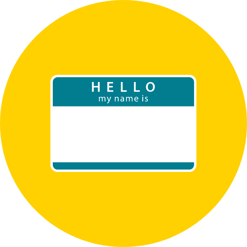 An icon of a nametag