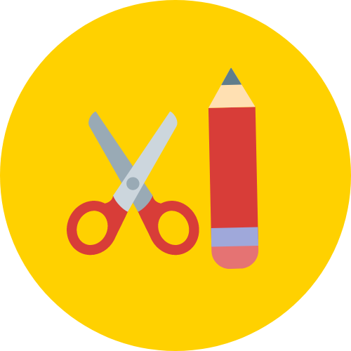 An icon of scissors and a pencil