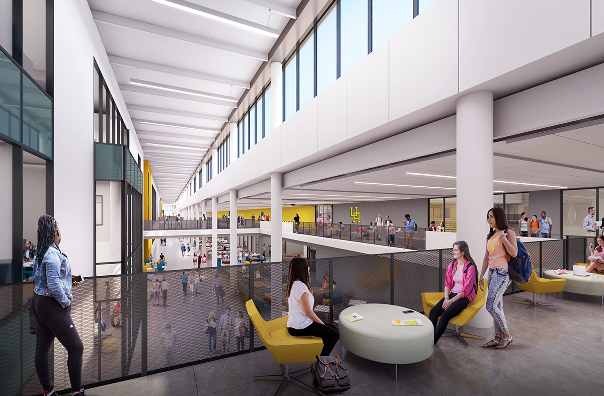 An interior rendering of the new Upper Arlington HIgh School looking down on Golden Bear Boulevard