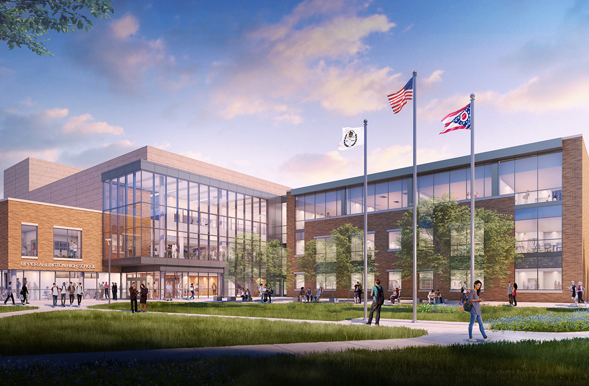 An exterior rendering of the new Upper Arlington High School