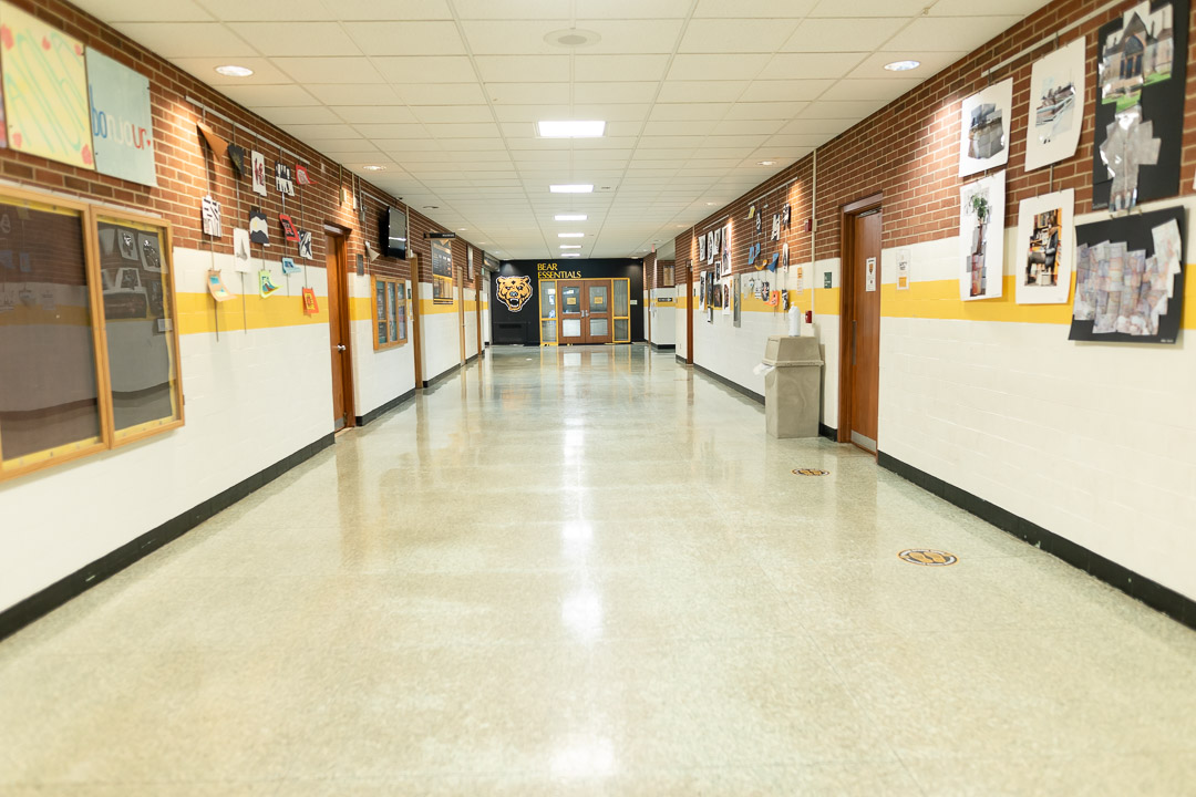 Looking down the hallway inside the high school