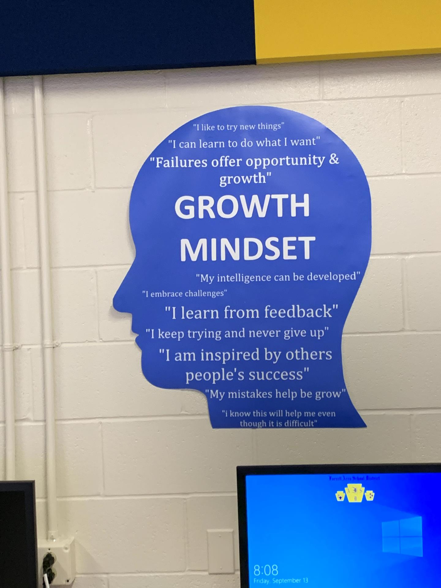 Growth mindset poster in the STEAM lab