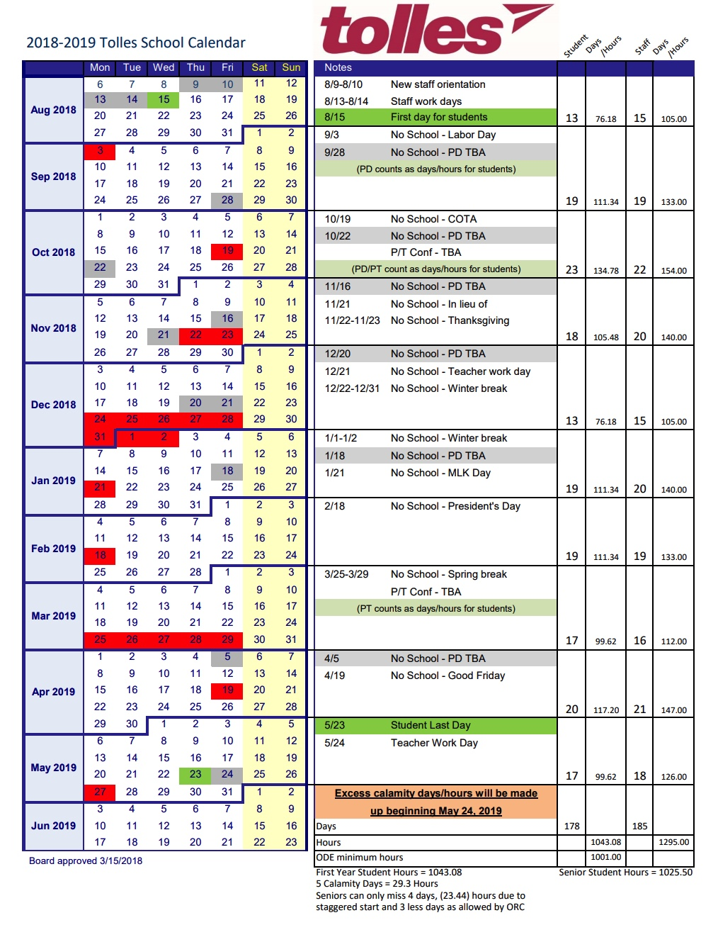 2019 District Calendar